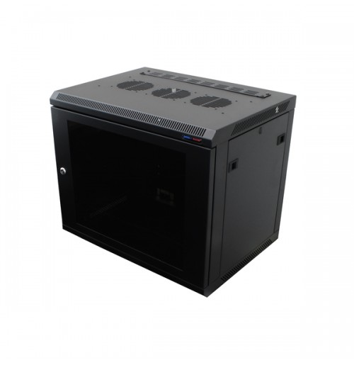 R6418-1032 Black 18U Wall Mount Rack Cabinet Polycarbonate Door