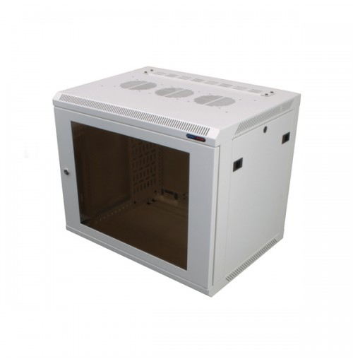 R6409W-M6 White 9U Wall Mount Rack Cabinet Polycarbonate Door
