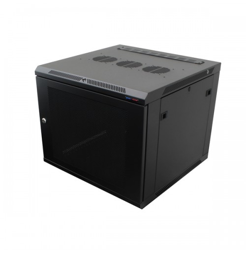 R6606V-1032 Black 6U Wall Mount Rack Cabinet Perforated Steel Door