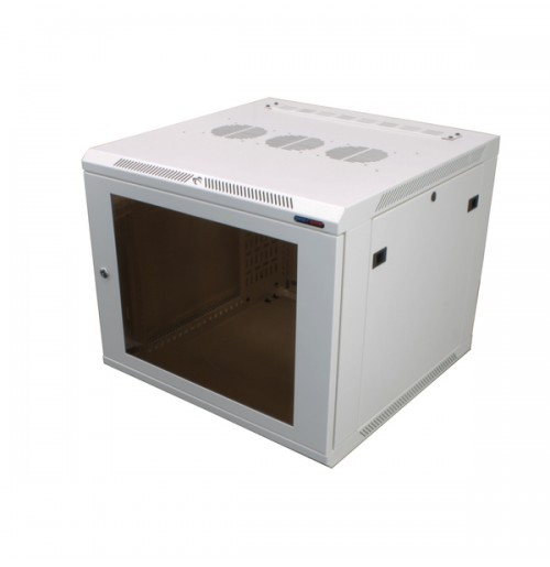 R6609W-1032 White 9U Wall Mount Rack Cabinet Polycarbonate Door