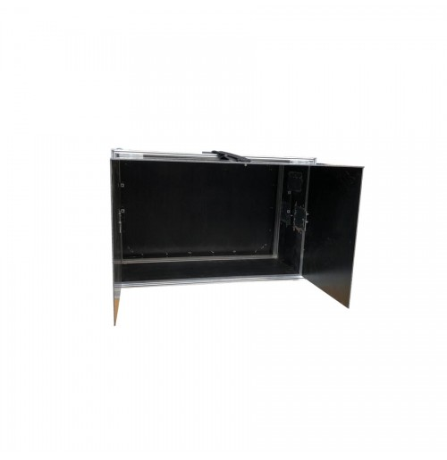 Rack Style Monitor Case With Custom Foldout Hood And Front And Back Removable Lid