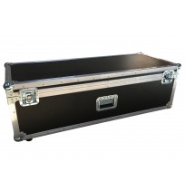 Empty hinged lid briefstyle case with 1 handle end to pull along and 1 handle on front