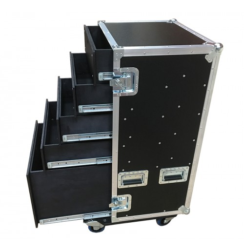 Production Case with 5 drawers and table legs in removable front lid