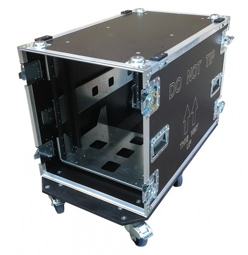 12U Rack Case 800mm deep with metal sleeve - total depth 900mm