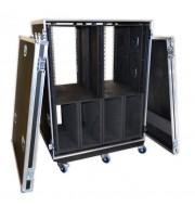 Double Bay 28U Rack Case With Heavy Duty Wheels
