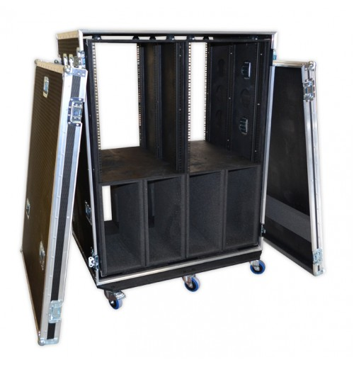Double Bay 28U Rack Case With Heavy Duty Wheels