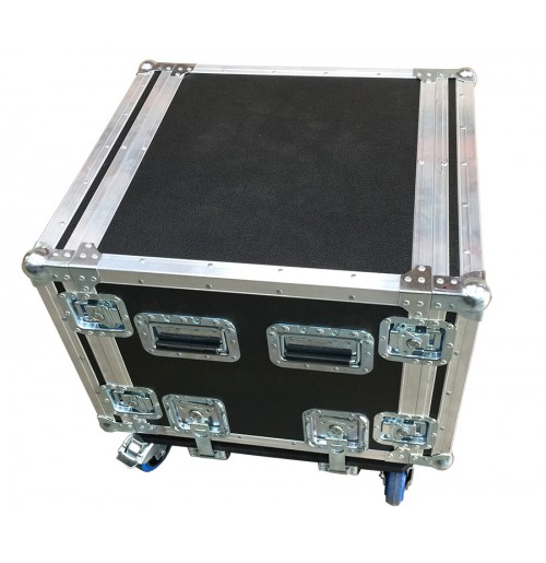 Foam Mounted 8RU Rack Case 440mm deep with removable dolly