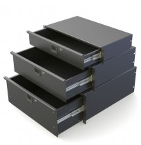 "Black Rack Drawers 367mm 6U R1296K / 14"" Deep"